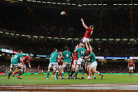Jake Ball of Wales claims the lineout during the under armour summer series 2019 match between Wales and Ireland at the Principality Stadium, Cardiff, Wales, UK. Saturday 31st August 2019