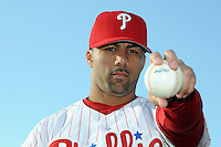 Feb 20, 2009; Clearwater, FL, USA; The Philadelphia Phillies pitcher J.C. Romero (16) during photoday at Bright House Field. Mandatory Credit: Tomasso De Rosa/ Four Seam Images