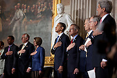 Washington, DC - October 28, 2009 -- United States President Barack Obama and members of Congress stand for the national anthem during the Congressional Gold Medal presentation to former U.S. Senator Edward W. Brooke (Republican of Massachusetts), third from right, at the U.S. Capitol in Washington, D.C., October 28, 2009. .From left to right: U.S. House Republican Leader John Boehner (Republican of Ohio); U.S. House Majority Leader Steny H. Hoyer (Democrat of Maryland); U.S. House Speaker Nancy Pelosi (Democrat of California); President Obama; U.S. Senate Majority Leader Harry Reid (Democrat of Nevada); Senator Brooke; U.S. Senate Republican Leader Mitch McConnell (Republican of Kentucky); and U.S. Senator John F. Kerry (Democrat of Massachusetts)..Mandatory Credit: Lawrence Jackson - White House via CNP