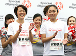 September 30, 2017, Tokyo, Japan - Special Olympics Nippon Foundation president Yuko Arimori (L) and former figure skater Miki Ando cheer for runners at a charity run for the Special Olympics at Toyota's showroom Mega Web in Tokyo on Saturday, September 30, 2017. Some 1,800 people participated the charity event as Japan's Special Olympic Games will be held in Aichi in 2018.   (Photo by Yoshio Tsunoda/AFLO) LWX -ytd-
