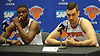 Mario Hezonja, right, and Emmanuel Mudiay of the New York Knicks field questions during the team's Media Day held at Madison Square Garden Training Center in Greenburgh, NY on Monday, Sept. 24, 2018.