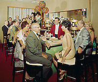 Metropolitan Motel, Asbury Park, New Jersey. Couples at the Bar.  1960's