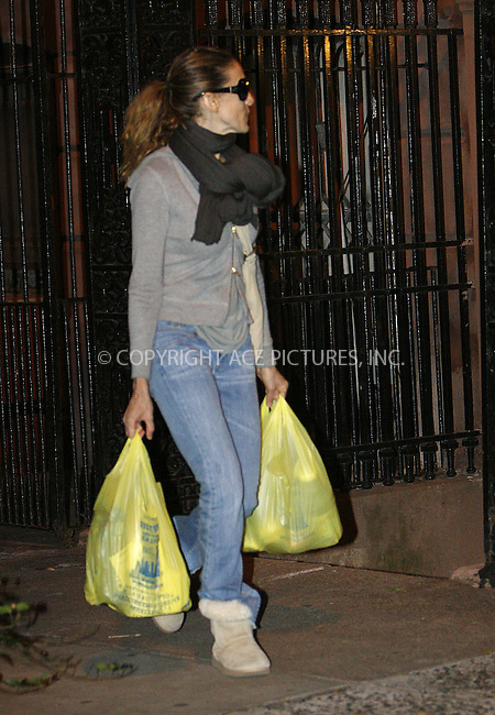 WWW.ACEPIXS.COM . . . . .  ....October 11 2009, New York City....Actress Sarah Jessica Parker strolls around her West Village neighborhood and goes food shopping before returning home on October 11 2009 in New York City....Please byline: NANCY RIVERA- ACE PICTURES.... *** ***..Ace Pictures, Inc:  ..tel: (212) 243 8787 or (646) 769 0430..e-mail: info@acepixs.com..web: http://www.acepixs.com