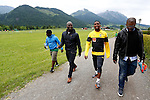 Cameroonian forward player Samuel Eto'o is leaving the training with friends during the FIFA World Cup 2014 CAMEROON'S training camp, in Walchsee on May 28 2014. © Pierre Teyssot