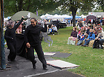 """Arm-of-the-Sea Theater, presenting their """"Three Little Foxes"""" play, on the Bandstand Stage, at the 27th Annual Hudson Valley Garlic Festival, held in Cantine Memorial Field, in Saugerties, NY, on Saturday, October 1, 2016. Photo by Jim Peppler; Copyright Jim Peppler 2016."""