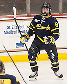 Jace Hennig (Merrimack - 9) celebrated after putting Merrimack on the board. - The Boston College Eagles defeated the visiting Merrimack College Warriors 2-1 on Wednesday, January 21, 2015, at Kelley Rink in Conte Forum in Chestnut Hill, Massachusetts.