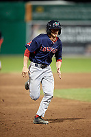 Lowell Spinners pinch runner Dylan Hardy (17) running the bases during a game against the Batavia Muckdogs on July 16, 2018 at Dwyer Stadium in Batavia, New York.  Lowell defeated Batavia 4-3.  (Mike Janes/Four Seam Images)