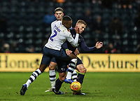 Preston North End's Darnell Fisher competing with Derby County's Martyn Waghorn  <br /> <br /> Photographer Andrew Kearns/CameraSport<br /> <br /> The EFL Sky Bet Championship - Preston North End v Derby County - Friday 1st February 2019 - Deepdale Stadium - Preston<br /> <br /> World Copyright © 2019 CameraSport. All rights reserved. 43 Linden Ave. Countesthorpe. Leicester. England. LE8 5PG - Tel: +44 (0) 116 277 4147 - admin@camerasport.com - www.camerasport.com