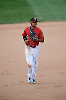 Erie SeaWolves center fielder Harold Castro (3) jogs back to the dugout during a game against the Hartford Yard Goats on August 6, 2017 at UPMC Park in Erie, Pennsylvania.  Erie defeated Hartford 9-5.  (Mike Janes/Four Seam Images)