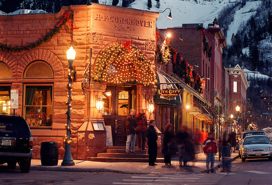 Downtown scene, winter. Aspen, Colorado. © Michael Brands. 970-379-1885.