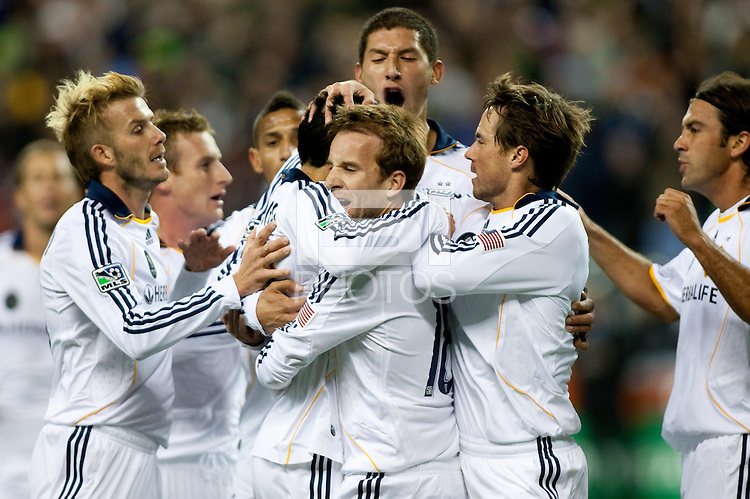 SEATTLE, WA--LA Galaxy teammates congratulate Mike Magee on his goal in the first half of the MLS Cup championships at Qwest field in Seattle. SUNDAY, NOVEMBER 22, 2009. PHOTO BY DON FERIA.