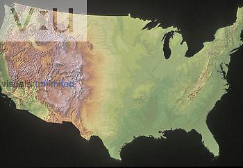 Shaded relief map of the United States (minus Alaska and Hawaii) showing the Western mountains (e.g., Sierra Nevada, Cascades, Rockies), the central plains, and the Appalachian Mountains in the East.