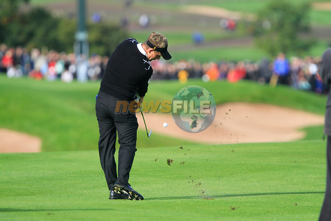 Luke Donald plays his 2nd shot on the 16th hole in the Day 2 session of the overnight Fourball Match 4 during Day 1 of the The 2010 Ryder Cup at the Celtic Manor, Newport, Wales, 29th September 2010..(Picture Eoin Clarke/www.golffile.ie)