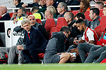 Arsenal's Arsene Wenger looks on at Theo Walcott's injury during the Carabao Cup Third Round match at the Emirates Stadium, London. Picture date 20th September 2017. Picture credit should read: David Klein/Sportimage