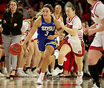 VERMILLION, SD - JANUARY 19: Lindsey Theuninck #3 of the South Dakota State Jackrabbits pushes the ball up court against the South Dakota Coyotes at the Sanford Coyote Center on January 19, 2020 in Vermillion, South Dakota. (Photo by Dave Eggen/Inertia)
