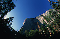 El Capitan's vertical face rises 3,000 feet (910 m) above Yosemite Valley, in Yosemite National Park. The granite  monolith is one of the world's favorite challenges for rock climbers.