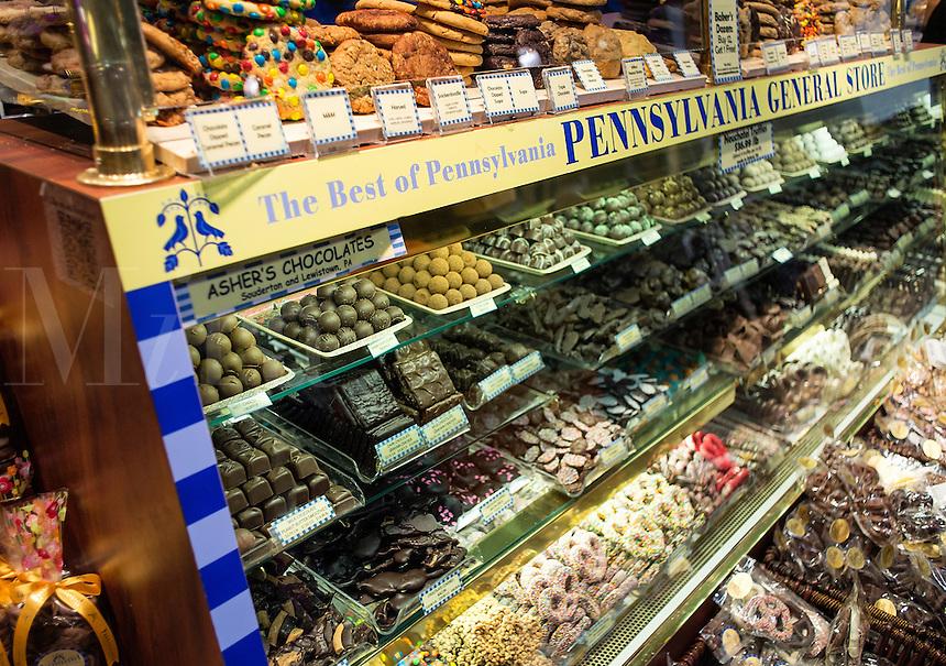 Chocolate shop in Reading Terminal Market, Philadelphia, USA