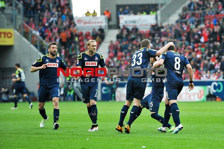 17.04.2016, Coface-Arena, Mainz, GER, 1. FBL, 1. FSV Mainz 05 vs. 1. FC Koeln, im Bild: Matthias Lehmann (#33, 1. FC Koeln), Filip Mladenovic (#25, 1. FC Koeln) und Yannick Gerhardt (#31, 1. FC Koeln) jubelnt mit Milos Jojic (#8, 1. FC Koeln) ueber das 2:2<br /> <br /> Foto &copy; nordphoto / Fabisch