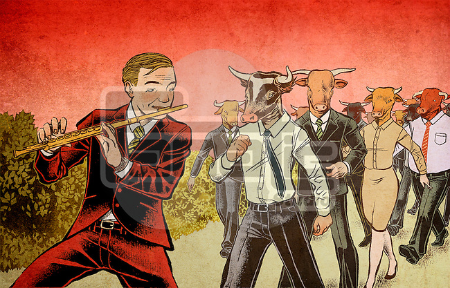 Businessman as pied piper playing flute while stock traders following the tune