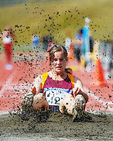 Southland's Jade Graham competes in the women's triple jump on day three of the 2015 National Track and Field Championships at Newtown Park, Wellington, New Zealand on Sunday, 8 March 2015. Photo: Dave Lintott / lintottphoto.co.nz