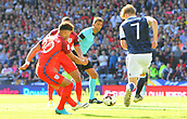 June 10th 2017, Hampden park, Glasgow, Scotland; World Cup 2018 Qualifying football, Scotland versus England; Substitute Alex Oxlade-Chamberlain opens the scoring for England in the 70th minute for 0-1