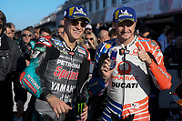 16th November 2019; Circuit Ricardo Tormo, Valencia, Spain; Valencia MotoGP, Qualifying Day; Pole sitter Fabio Quartararo (Petronas Yamaha) with Jack Miller (Pramac Racing)   - Editorial Use