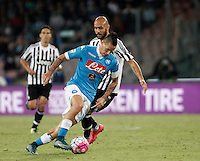 Calcio, Serie A: Napoli vs Juventus. Napoli, stadio San Paolo, 26 settembre 2015. <br /> JNapoli's Marek Hamsik, left, is challenged by Simone Zaza during the Italian Serie A football match between Napoli and Juventus at Naple's San Paolo stadium, 26 September 2015.<br /> UPDATE IMAGES PRESS/Isabella Bonotto