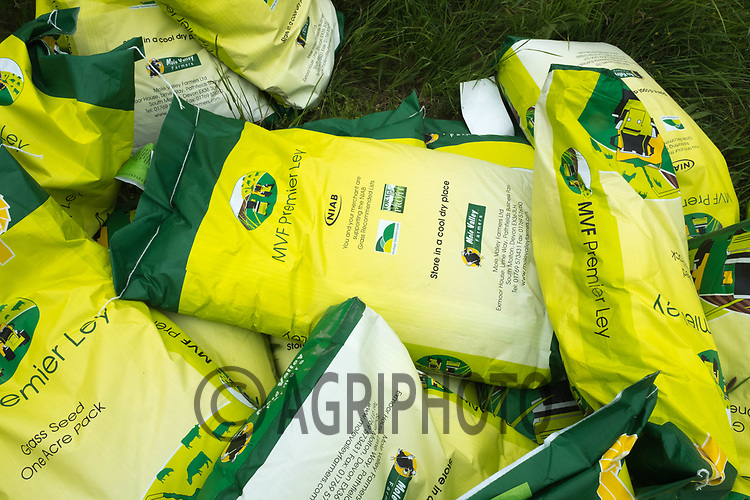 Bags of grass seed<br /> &copy;Tim Scrivener Photographer 07850 303986<br /> ....Covering Agriculture In The UK....