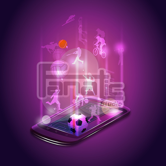 Illustrative image of mobile phone representing sports app