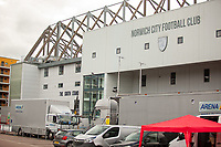 27th June 2020; Carrow Road, Norwich, England; FA Cup 6th round tie, Norwich City versus Manchester united; Teams arriving at the stadium pre-match; An empty Norwich City Football Club Stadium as fans not allowed due to the covid-19 pandemic