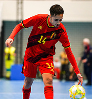20200201 Herentals , BELGIUM :  Belgium's Souliemane Ouadi (14) with the ball during a futsal indoor soccer game between the Belgian Futsal Devils of Belgium and Montenegro on the third and last matchday in group B of the UEFA Futsal Euro 2022 Qualifying or preliminary round , Saturday 1st February 2020 at the Sport Vlaanderen sports hall in Herentals , Belgium . PHOTO SPORTPIX.BE | Sevil Oktem