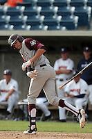 Matt Juengel #17 of the Texas A&M Aggies bats against the Pepperdine Waves at Eddy D. Field Stadium on March 23, 2012 in Malibu,California. Texas A&M defeated Pepperdine 4-0.(Larry Goren/Four Seam Images)