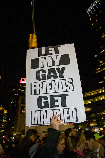 LGBT New Yorkers and their straight allies gather to protest the votes banning same-sex marriage in California.