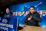 PSG coach Unai Emery and Marcos Aoás 'Marquinhos' during press conference the day before Champions League match between Real Madrid and PSG at Santiago Bernabeu Stadium in Madrid , Spain. February 13, 2018. (ALTERPHOTOS/Borja B.Hojas)