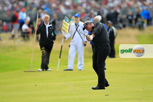 Darren Clarke (NIR) plays his 2nd shot on the 14th hole during Thursday's Round 1 of the 141st Open Championship at Royal Lytham & St.Annes, England 19th July 2012 (Photo Eoin Clarke/www.golffile.ie)
