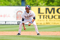 Christian Bethancourt #27 of the Rome Braves takes his lead off of second base against the Hagerstown Suns at State Mutual Stadium on May 2, 2011 in Rome, Georgia.   Photo by Brian Westerholt / Four Seam Images