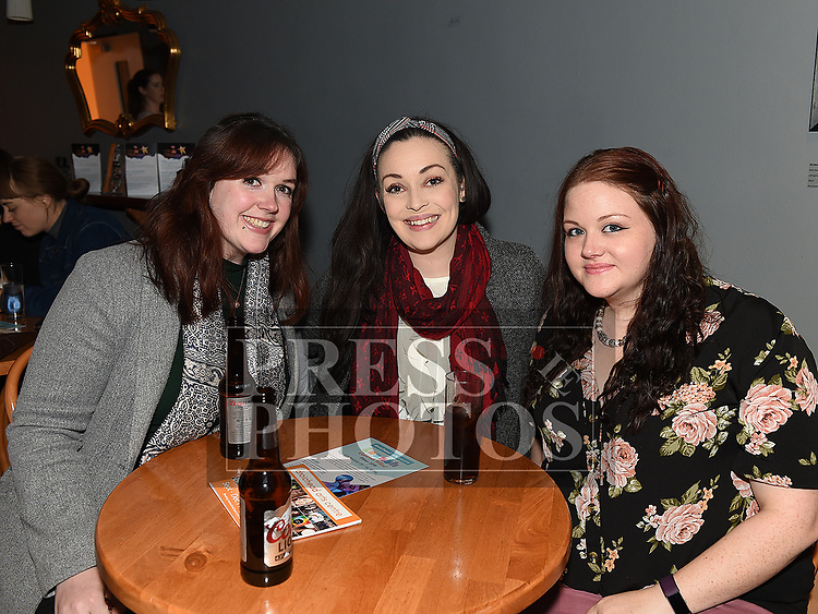Eimear McKeon, Grace McEwan and Sinead Crilly at the launch of Ciarán Hodgers book Cosmocartography in The Droichead Arts Centre. Photo:Colin Bell/pressphotos.ie