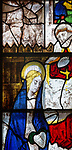Sixteenth century stained glass window detail Fairford, Gloucestershire, England, UK hidden portrait Katherine of Aragon 1485-1536