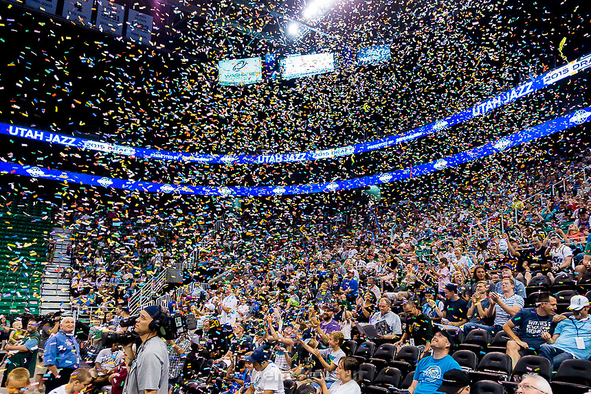 Trent Nelson  |  The Salt Lake Tribune<br /> Fans react as the Utah Jazz select Kentucky forward Trey Lyles with the 12th pick in the 2015 NBA Draft. Jazz fans were invited to EnergySolutions Arena in Salt Lake City, Thursday June 25, 2015 to watch a broadcast of the draft.