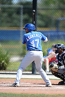 Toronto Blue Jays outfielder Jesus Gonzalez (17) during a minor league spring training game against the New York Yankees on March 16, 2014 at Englebert Minor League Complex in Dunedin, Florida.  (Mike Janes/Four Seam Images)