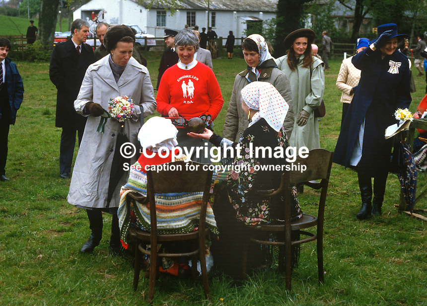 "Princess Royal, Princess Anne, declines to avail of the services of the village ""fortune teller"" at a Riding for the Disabled event in Co Fermanagh during a royal visit to N Ireland, May 1985. 19850503h..Copyright Image from Victor Patterson, 54 Dorchester Park, Belfast, UK, BT9 6RJ..Tel: +44 28 9066 1296.Mob: +44 7802 353836.Voicemail +44 20 8816 7153.Skype: victorpattersonbelfast.Email: victorpatterson@me.com.Email: victorpatterson@ireland.com (back-up)..IMPORTANT: If you wish to use this image or any other of my images please go to www.victorpatterson.com and click on the Terms & Conditions. Then contact me by email or phone with the reference number(s) of the image(s) concerned."