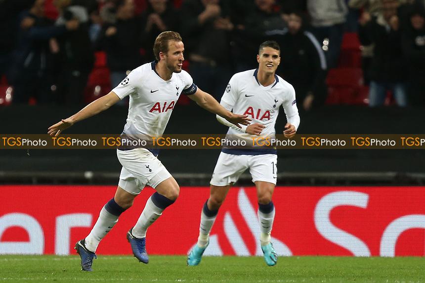 Harry Kane of Tottenham Hotspur celebrates scoring the second goal during Tottenham Hotspur vs PSV Eindhoven, UEFA Champions League Football at Wembley Stadium on 6th November 2018