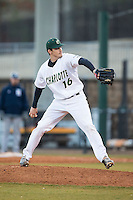 Charlotte 49ers relief pitcher Brandon Vogler (16) in action against the Rice Owls at Hayes Stadium on March 6, 2015 in Charlotte, North Carolina.  The Owls defeated the 49ers 4-2.  (Brian Westerholt/Four Seam Images)