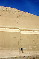 Fault cuts through rock layers in road cut on I-40 near Kingman, Arizona, AGPix_0061..