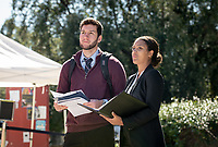 Elijah Plvan-Franke '19 and Anna Palmer '19<br /> Occidental College Career Services hosts the Career Fair, open to all students seeking full-time, professional jobs and internships, in the AGC quad on Feb. 19, 2019.<br /> (Photo by Marc Campos, Occidental College Photographer)