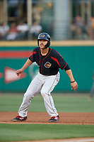 Rochester Red Wings first baseman Zander Wiel (12) leads off first base during a game against the Lehigh Valley IronPigs on September 1, 2018 at Frontier Field in Rochester, New York.  Lehigh Valley defeated Rochester 2-1.  (Mike Janes/Four Seam Images)