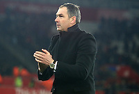 Swansea City manager Paul Clement applauds the fans after the final whistle of the Premier League match between Swansea City and Leicester City at The Liberty Stadium, Swansea, Wales, UK. Sunday 12 February 2017