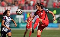 Portland, OR - Saturday September 02, 2017: Christine Sinclair, Caprice Dydasco during a regular season National Women's Soccer League (NWSL) match between the Portland Thorns FC and the Washington Spirit at Providence Park.