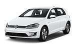2019 Volkswagen e-Golf Base 5 Door Hatchback angular front stock photos of front three quarter view