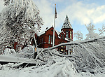 The storm did leave very scenic pictures like the Vernon Town Hall in downtown Rockville, after the record breaking snow storm brought down trees and utility wires leaving more than 700, 000 CL+P customers in the dark, Sunday, October 30, 2011. (Jim Michaud/Journal Inquirer).